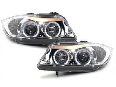 Фары передние Angel Eyes Chrome для BMW 3 E90