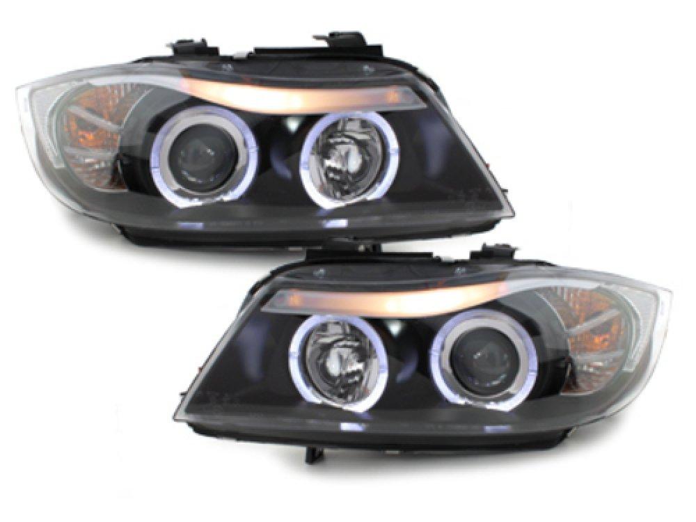 Фары передние LED Angel Eyes Black для BMW 3 E90