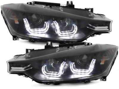 Фары передние Angel Eyes Black 3D для BMW 3 F30 / F31
