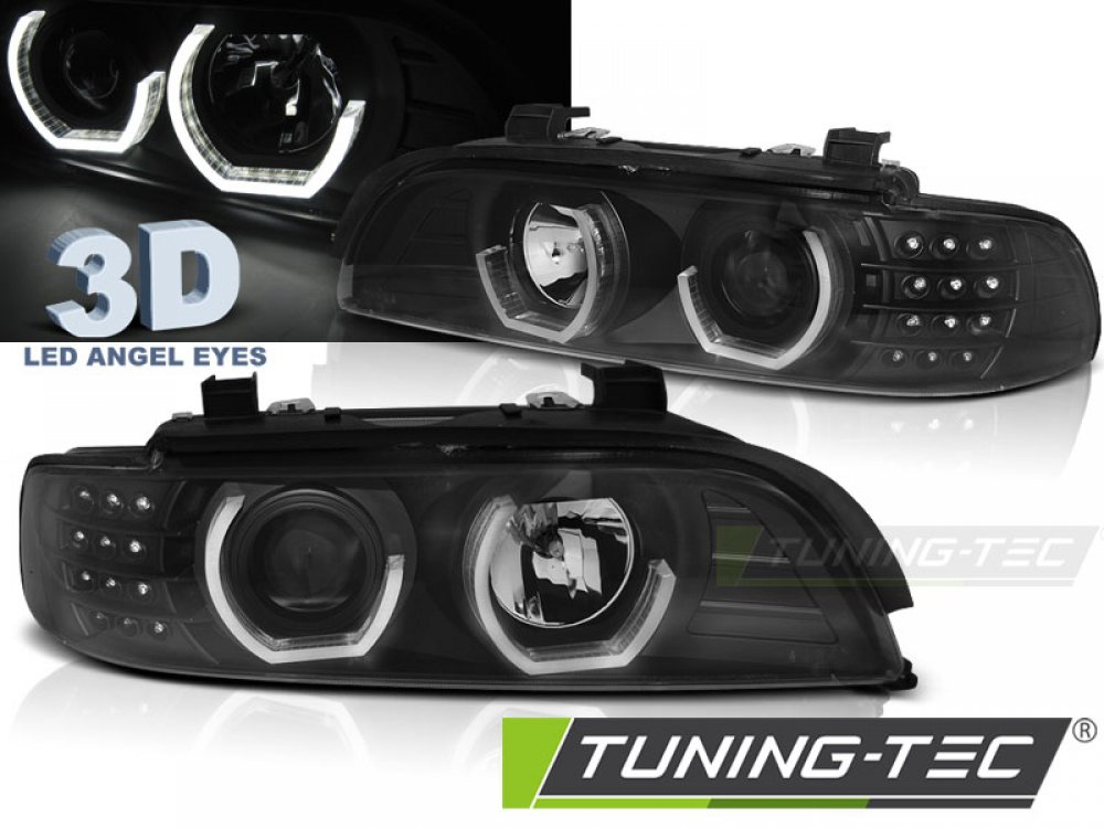 Передняя альтернативная оптика 3D Angel Eyes LED Black для BMW 5 E39