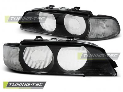 Стёкла на передние фары Black от Tuning-Tec для BMW 5 E39 XENON