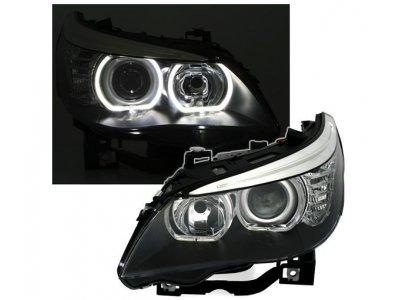 Фары передние F-Style Angel Eyes Black для BMW 5 E60