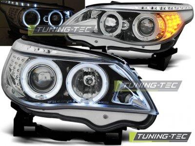 Передняя альтернативная оптика LED Angel Eyes Chrome для BMW 5 E60