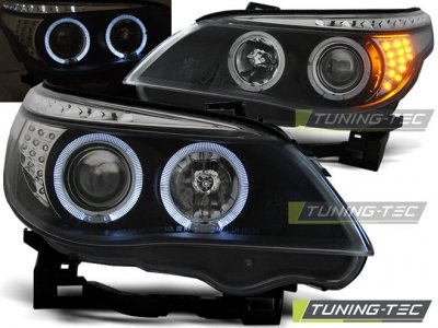 Передняя альтернативная оптика LED Angel Eyes Black для BMW 5 E60