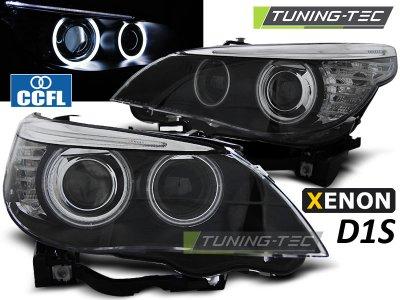 Фары передние CCFL Angel Eyes Black для BMW 5 E60 XENON рестайл