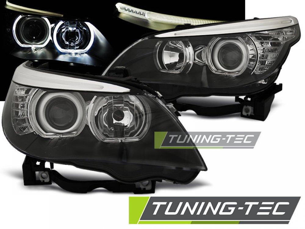 Передняя альтернативная оптика F-Style LED Angel Eyes Black для BMW 5 E60