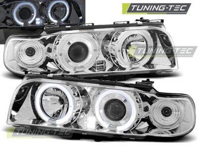 Фары передние от Tuning-Tec LED Angel Eyes Chrome для BMW 7 E38
