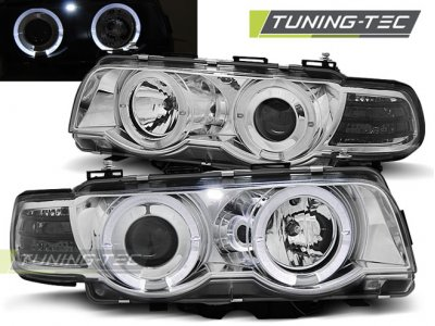 Фары передние от Tuning-Tec LED Angel Eyes Chrome для BMW 7 E38 рестайл