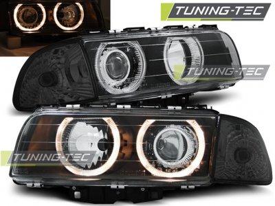 Фары передние от Tuning-Tec Angel Eyes Black для BMW 7 E38