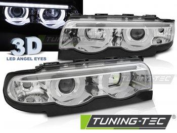 Передние фары с 3D ангельскими глазками хром для BMW 7 E38