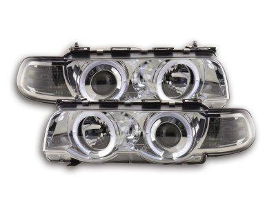 Фары передние LED Angel Eyes Chrome для BMW 7 E38 рестайл
