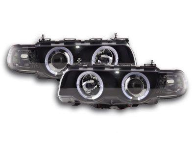 Фары передние LED Angel Eyes Black для BMW 7 E38 рестайл