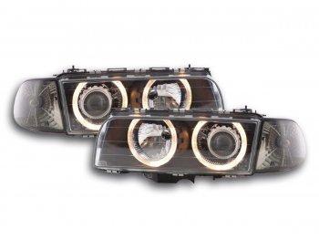 Передняя альтернативная оптика Angel Eyes Black для BMW 7 E38