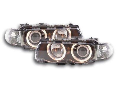 Передняя альтернативная оптика Angel Eyes Black для BMW 7 E38 рестайл