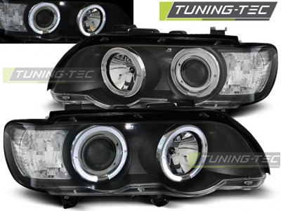 Передние фары от Tuning-Tec Angel Eyes Black для BMW X5 E53