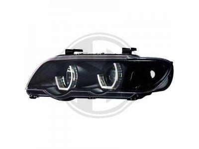 Фары передние 3D Angel Eyes Black для BMW X5 E53