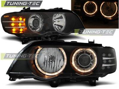 Фары передние Tuning-Tec с LED поворотом Angel Eyes Black для BMW X5 E53 XENON