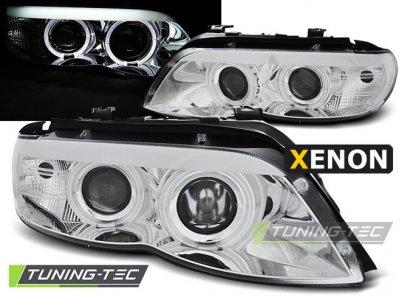 Фары передние LED Angel Eyes Chrome для BMW X5 E53 XENON рестайл