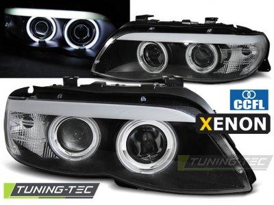 Фары передние CCFL Angel Eyes Black для BMW X5 E53 XENON рестайл