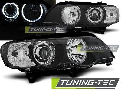 Фары передние Tuning-Tec LED Angel Eyes Black для BMW X5 E53