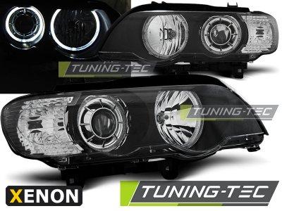 Фары передние Tuning-Tec LED Angel Eyes Black для BMW X5 E53 XENON