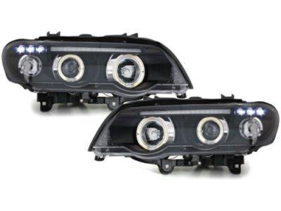 Фары передние Angel Eyes Black для BMW X5 E53