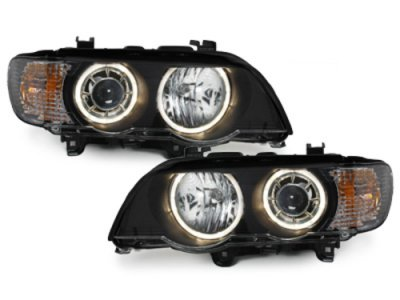 Фары передние Angel Eyes Black для BMW X5 E53 XENON