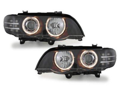 Фары передние LED Angel Eyes Black для BMW X5 E53 XENON