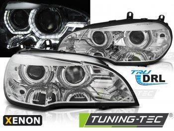 Передняя альтернативная оптика 3D ангельские глазки хром от Tuning-Tec для BMW X5 E70 под ксенон