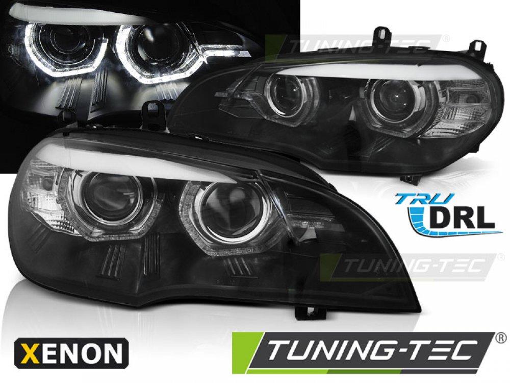 Передние фары 3D ангельские глазки чёрные от Tuning-Tec для BMW X5 E70 под ксенон