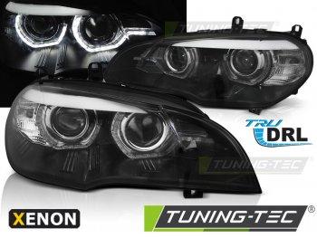Передняя альтернативная оптика 3D ангельские глазки чёрные от Tuning-Tec для BMW X5 E70 под ксенон