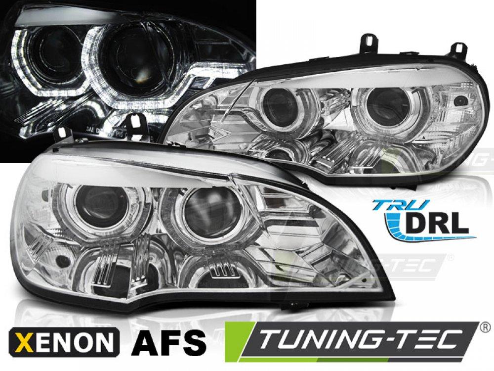 Передние фары 3D ангельские глазки хром от Tuning-Tec для BMW X5 E70 под ксенон с AFS