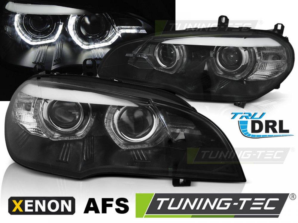 Передние фары 3D ангельские глазки чёрные от Tuning-Tec для BMW X5 E70 под ксенон с AFS