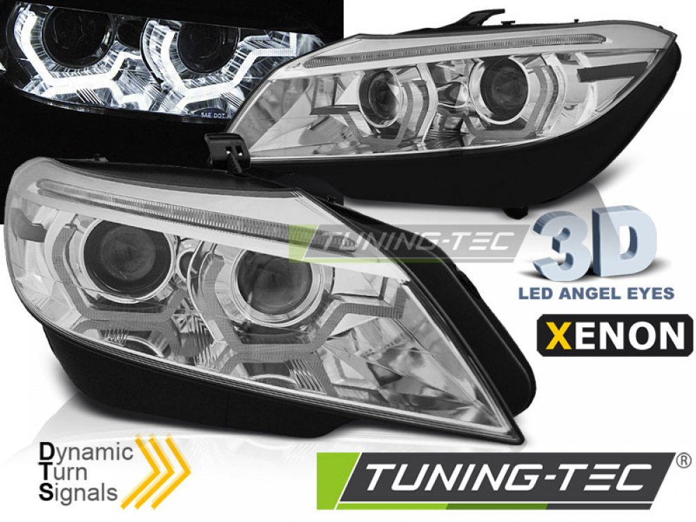 Передние фары Dynamic Turn Angel Eyes хром от Tuning-Tec для BMW Z4 E89 под ксенон