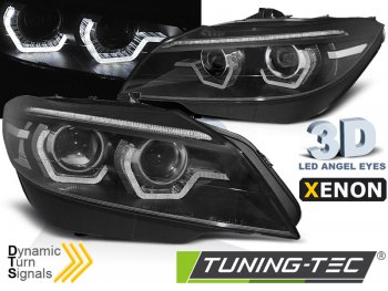 Передние фары Dynamic Turn Angel Eyes чёрные от Tuning-Tec для BMW Z4 E89 под ксенон