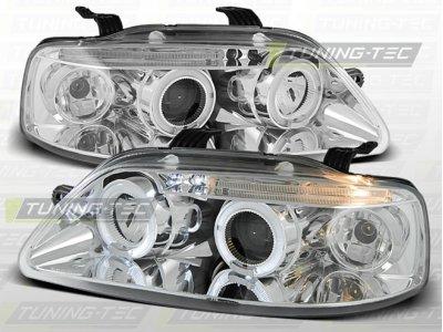 Фары передние LED Angel Eyes Chrome для Chevrolet Aveo I