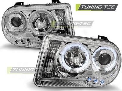 Передняя альтернативная оптика Angel Eyes Chrome для Chrysler 300C