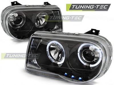 Передняя альтернативная оптика Angel Eyes Black для Chrysler 300C