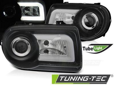 Передние фары Tube Light Black для Chrysler 300C