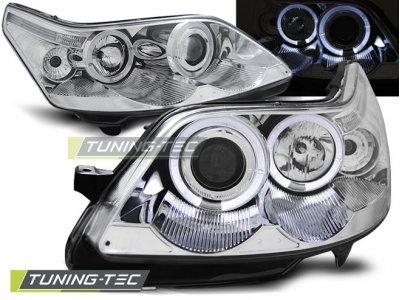 Передняя альтернативная оптика Angel Eyes Chrome от Tuning-Tec для Citroen C4