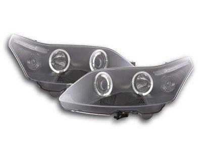 Передние тюнинговые фары LED Angel Eyes Black для Citroen C4