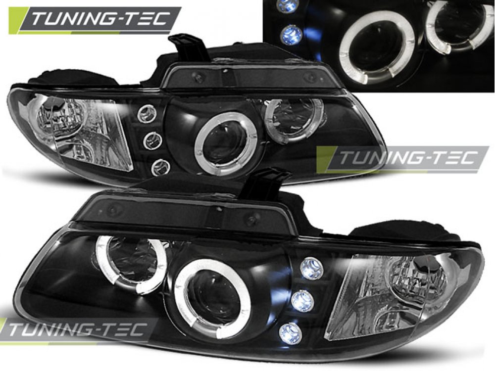 Фары передние LED Angel Eyes Black для Dodge Caravan III