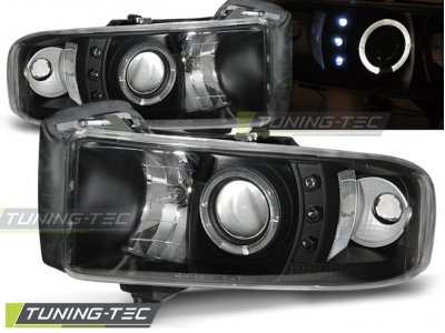 Передняя альтернативная оптика LED Angel Eyes Black для Dodge Ram II