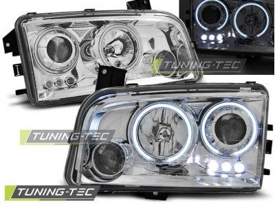 Передняя альтернативная оптика LED Angel Eyes Chrome для Dodge Charger LX