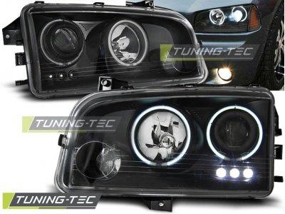 Передняя альтернативная оптика LED Angel Eyes Black для Dodge Charger LX