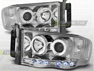 Передняя альтернативная оптика LED Angel Eyes Chrome для Dodge Ram III