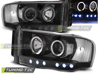Передняя альтернативная оптика LED Angel Eyes Black для Dodge Ram III