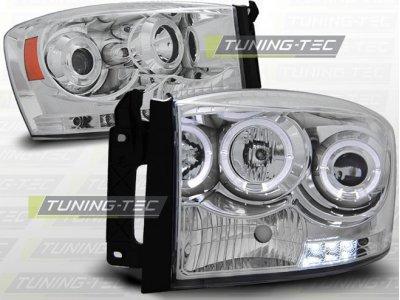 Передние фары LED Angel Eyes Chrome для Dodge Ram III рестайл