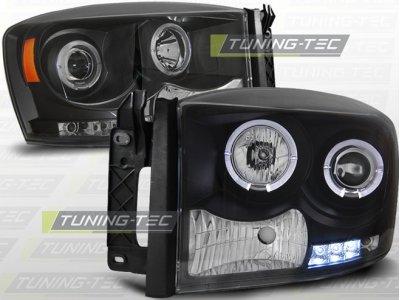 Фары передние LED Angel Eyes Black для Dodge Ram III рестайл