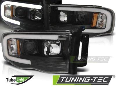 Фары передние с неоновыми ходовыми огнями чёрные от Tuning-Tec для Dodge Ram III